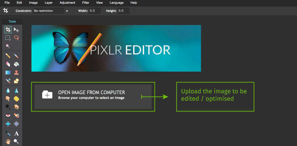 pixlr interface on upload