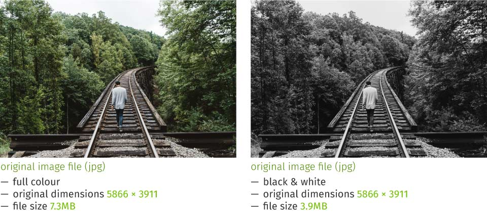 comparison of full / black and white images